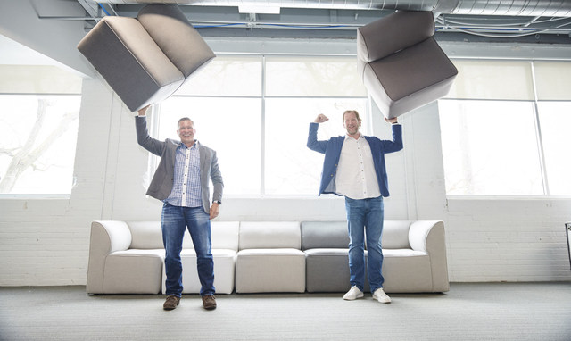 Co-founders of Comfort Research, Matt Jung and Chip George, recognized by Forbes as one of America's best small companies. Photo credit: Jamel Toppin (PRNewsfoto/Comfort Research)